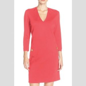 Eliza J Pink Coral Ponte Dress with Gold Buttons!